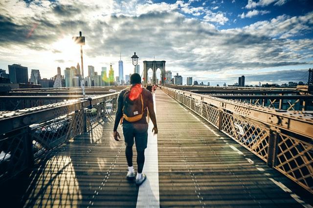 Man walking back from Brooklyn